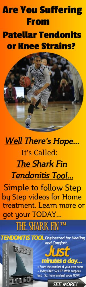 Are you suffering from Patellar Tendonitis or Knee Strains? Get this revolutionary, patent pending tool designed by a physician for home use. Give it a try and see if you can't get back to the things you love to do in life...Learn more here: http://betacorehealth.com/the-shark-fin-tendonitis-tool/