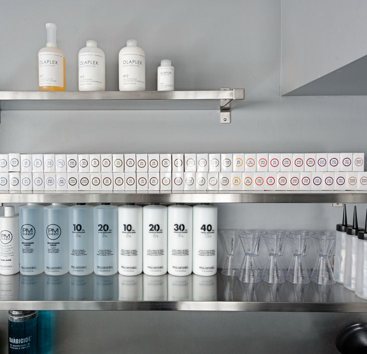 Our modern color bar! Featuring Paul Mitchell color and Olaplex #GinaBiancaHair   Salon color bar, salon color room, color bar design, salon decor, salon design
