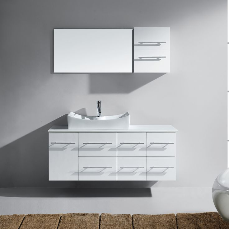 "Ceanna 53"" Single Bathroom Vanity Set with White Artificial Stone Top and Mirror"