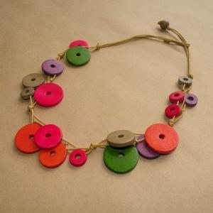 Kids wooden jewellery - necklace (multi coloured discs)