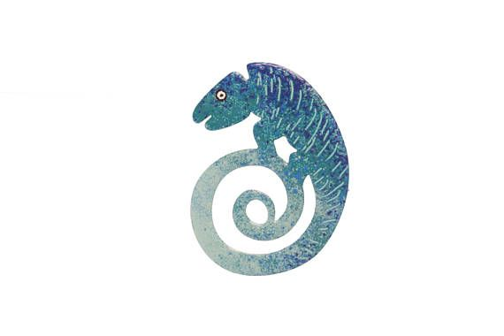 Hand Painted Stainless Steel Blue Chameleon Brooch