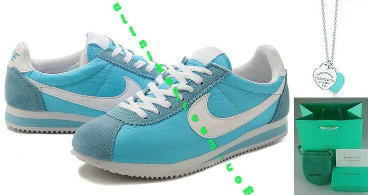 Nike Classic Cortez Nylon Womens Tiffany Blue Charcoal Blue White 354698 411