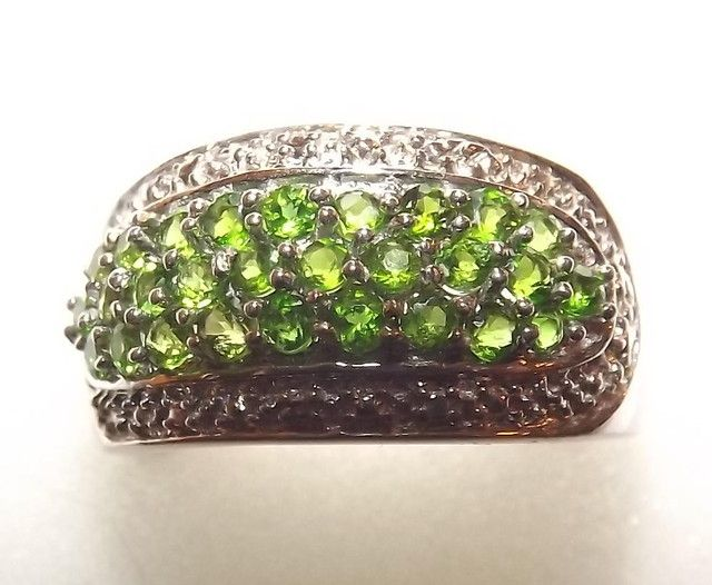 GENUINE DIOPSIDES SET IN 925 STERLING SILVER SZ 7  DIOPSIDE  GEMSTONES IN RING SET FROM JEWELLERYAUCTIONED.COM