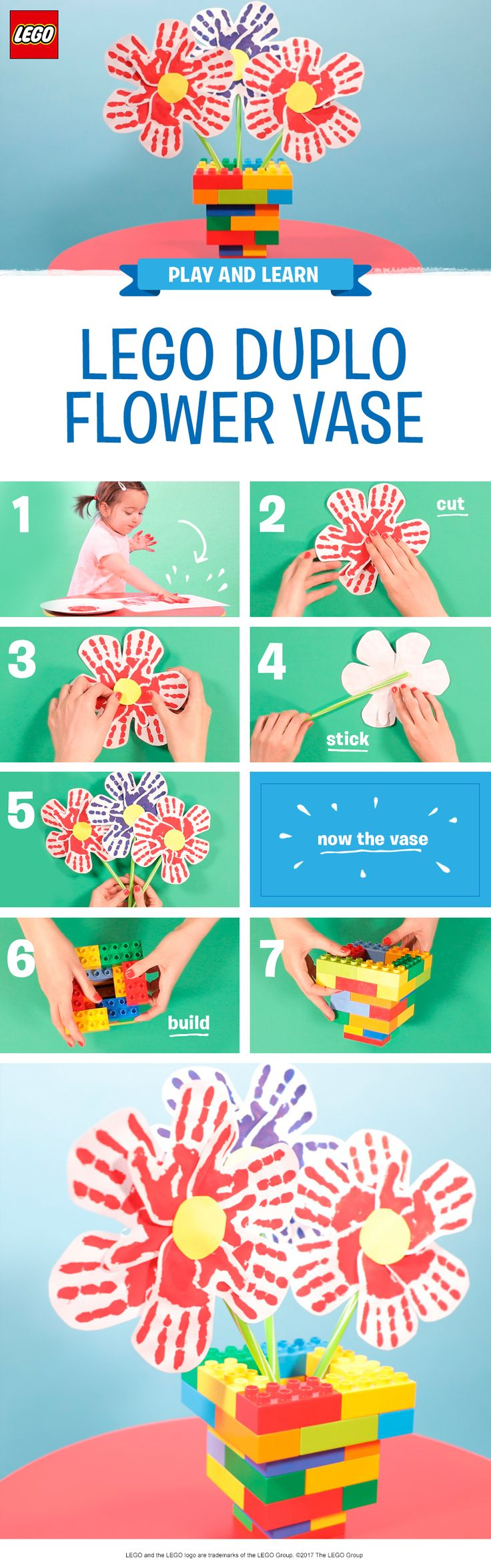 Whether it's in celebration of Mother's Day, Father's Day, or just surviving another Monday - this DIY gift has the ultimate personal touch! Use a selection of child-safe colored paints and help your child make some handprints on paper, then carefully cut them out, attach to straws in a flower shape, then build a colorful vase together using LEGO DUPLO bricks. The final step is arranging your handprint flowers in the vase and presenting to the lucky recipient! http://lego.build/duplovase
