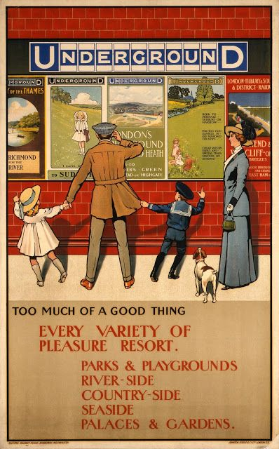 """London Transport poster: """"Too much of a Good Thing"""" by John Lloyd, 1910"""