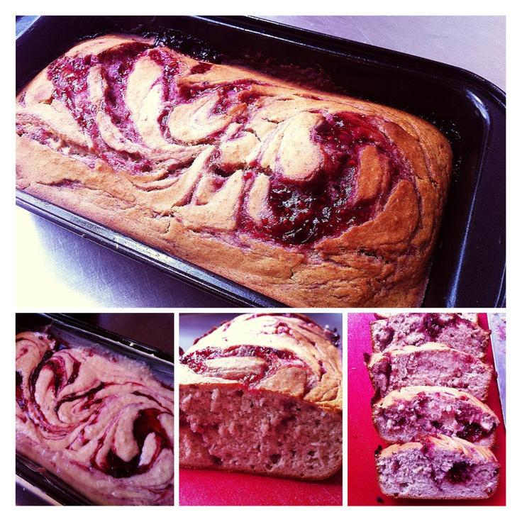 GF Raspberry Swirl Cake. *dairy free/ gum free.