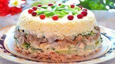 """Салат """"Рицца"""". Этот невероятно простой салат выглядит настолько нарядным, что кажется, перед нами торт, выполненный руками искусного кондитера. На праздничном столе салат «Рицца» будет смотреться великолепно!"""