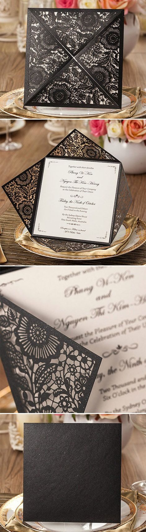 chic vintage black and white laser cut wedding invitations