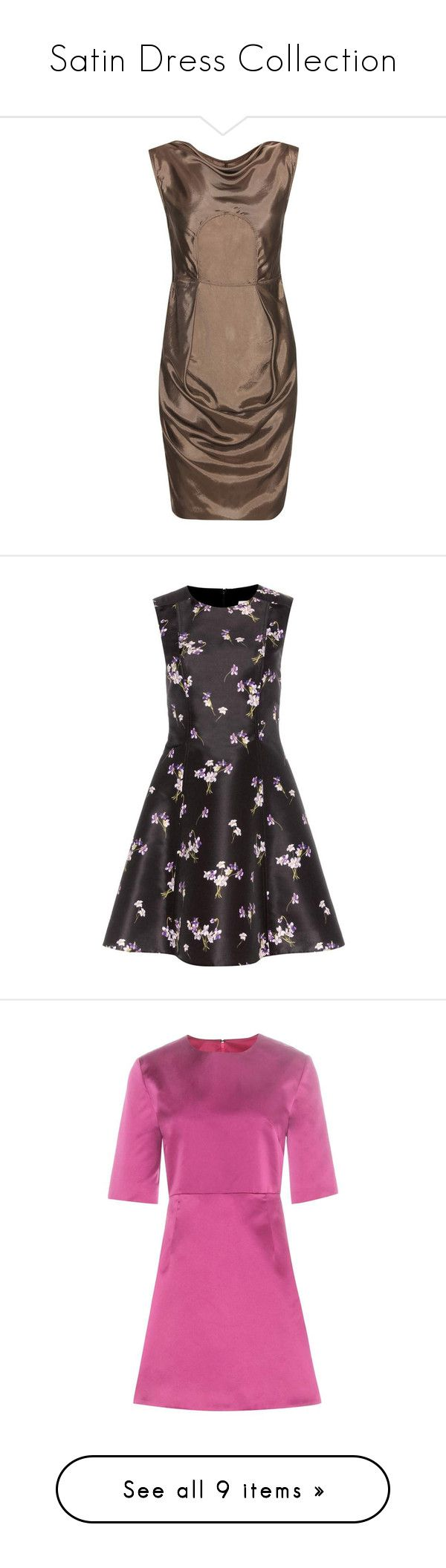 """""""Satin Dress Collection"""" by modalist ❤ liked on Polyvore featuring dresses, gathered dress, shirred dress, rouched dress, panel dress, mini dress, zipper dress, floral day dress, red valentino dress and floral print dress"""