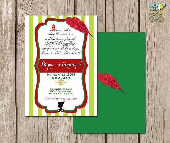 Peter Pan Invitation - Printable File - PDF - Printable Party on Etsy, $14.00