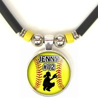 Personalized Yellow Softball Catcher 3D Glass Pendant Necklace With Name &…