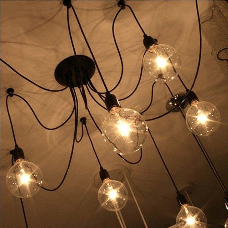 Люстра-паук на 10 лап (черная) для ламп Эдисона - комплект для сборки