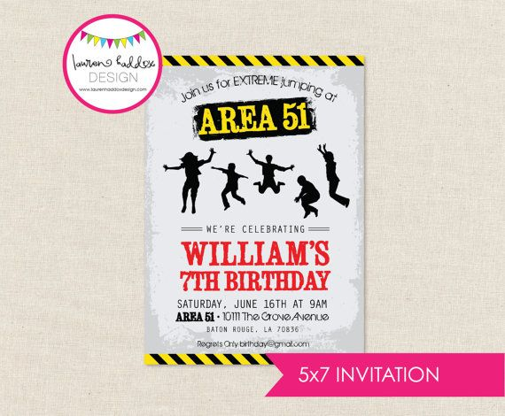 DIY Extreme Trampoline Party INVITATION by LaurenHaddoxDesign