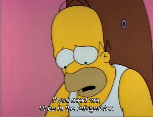Si me necesitan estare en el refigerador. Homero Simpson. The 100 Best Classic Simpsons Quotes