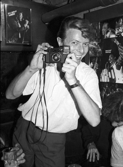 Bowie taking a picture