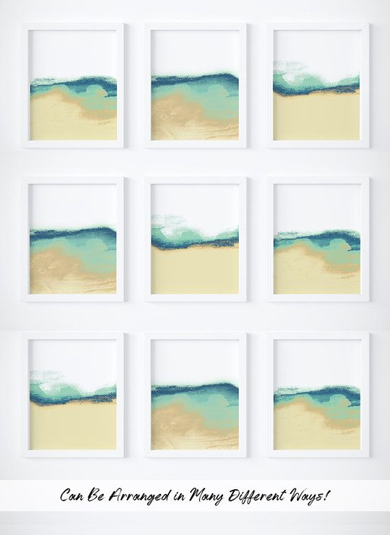 Set Of 3 Abstract Prints Set Blue And Green Abstract Art Set