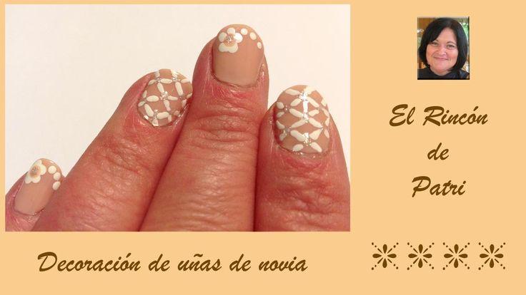 Diseño de uñas para novia- El rincón de Patri Wedding Nail Art. Sigue todos nuestros diseños de decoración de uñas en http://www.rincondepatri.com