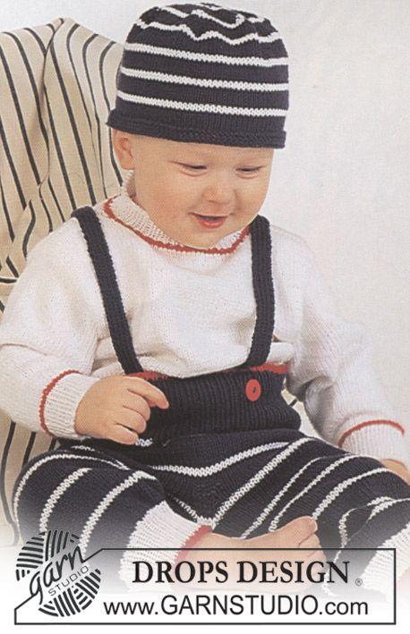 sæt trøje bukser og hue med striber i Safran ~ DROPS Design