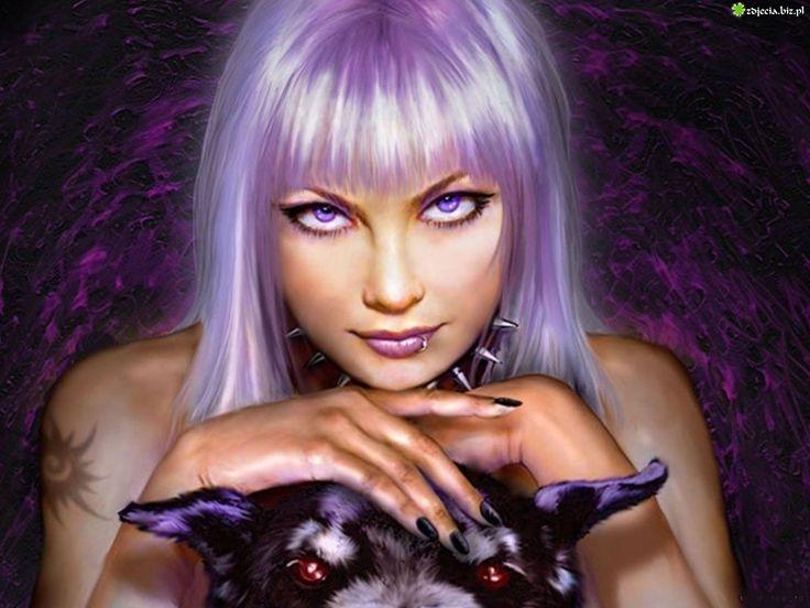 fantasy goth woman   Zdjęcie, Dziewczyna, Fioletowe, Włosy, Oczy, Pies