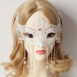 Stylish Women's Openwork Lace Beads Pendant Mask