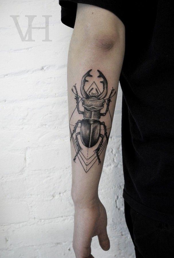 Valentine Hirsch black and white tattoo