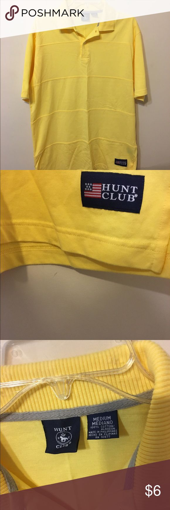Hunt Club Polo....Size Medium Nice yellow, polo in great condition. 100% cotton. Hunt Club Shirts Polos