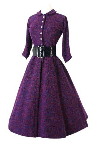 Vintage Turn-Down Collar Long Sleeve A-Line Dress For Women