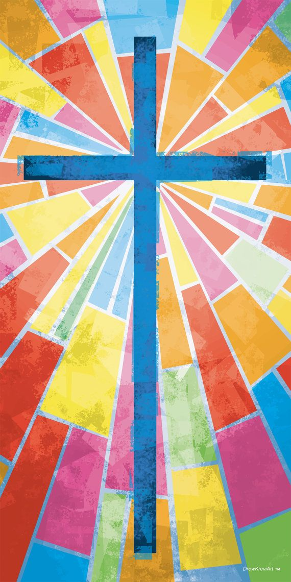 Stained Glass Cross Banner As an artist, I did not create this simply as graphics to fill an empty space on the church buildings wall. Instead I