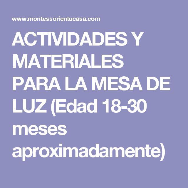 ACTIVIDADES Y MATERIALES PARA LA MESA DE LUZ (Edad 18-30 meses aproximadamente)