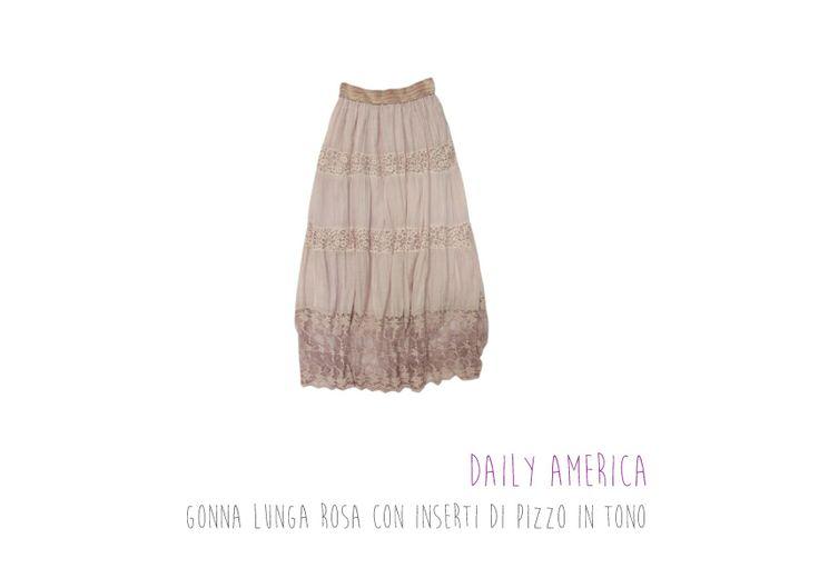 Daily America - Gonna lunga rosa con inserti di pizzo in tono!
