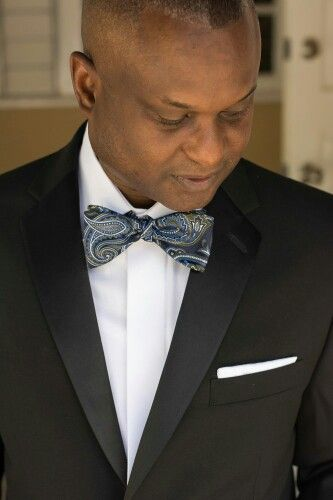 Dashing Groom with a handsome #Paisley #bowtie.