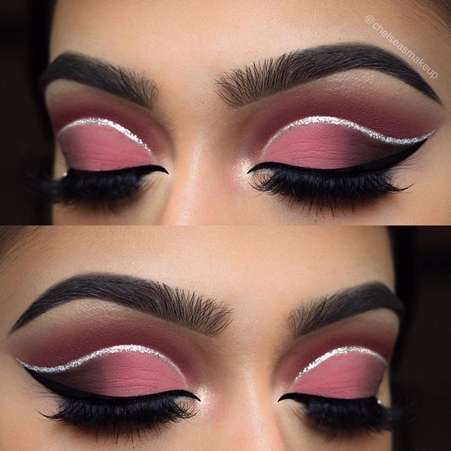 """Dusty rose cut crease  look o did the other day Brows: @mywunderbrow • 1-step brow gel in """"jet black"""" Eyes: @hudabeauty • textured eyeshadow palette rose gold edition (bossy in the crease, shy, coco, and black truffle on the lid) Glitter: @urbandecaycosmetics • heavy metal glitter liner in """"glamrock"""" Liner: @anastasiabeverlyhills • waterproof cream colour in """"jet""""  Lashes: @luxylash • """"homegirl"""" lashes Used @morphebrushes to create this eye look  #makeup #instamakeup #cosmetic #cosmetic..."""