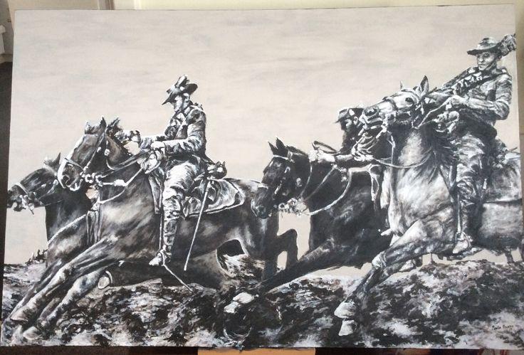 """WW1 Australian Lighthorse men France 1917"" acrylic on canvas 2017. Paula Benson Benson Artworks. Original photo public domain Aust. war Memorial archives."
