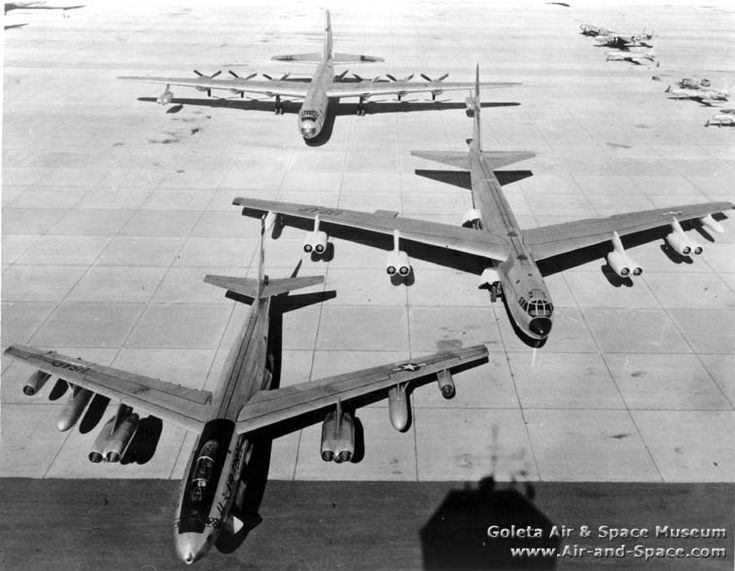 "enrique262: ""Strategic Air Command: Boeing B-47 Stratojet, Boeing B-52 Stratofortress and Convair B-36 Peacemaker strategic bombers, lined up from least to most engines, 6, 8 and 10 respectively. """