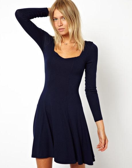 Pics For > Blue Skater Dress With Sleeves