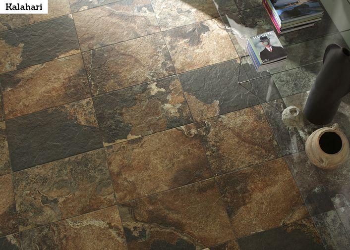 African stone -tyylisellä laatalla saat kotiisi dramaattisen tunnelman. Kuvan laatta on II Kalahari 46MC 40x60 cm.