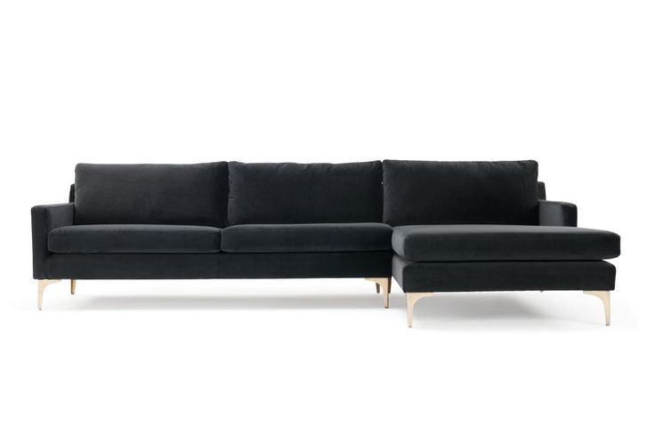Astha, 3-seater sofa w/ chaiselong right, Velour Dark Grey, Brass Color Legs