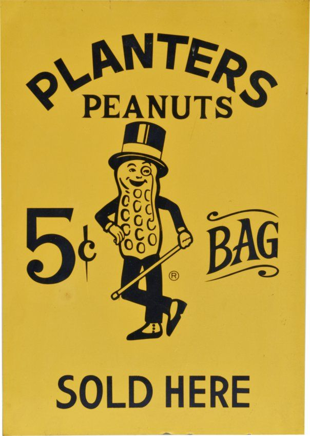 Planters Peanuts Tin Sign Featuring Mr. Peanut : Lot 202