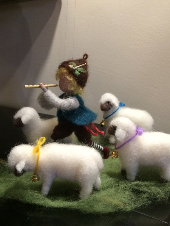 Needle felted doll Waldorf inspired Shepherd with pipe and sheep Wool Soft…