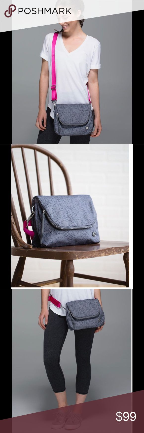 """NWT Lululemon Party Om Bag Great travel bag! Perfect for concerts or festivals too! Durable water-resistant fabric is easy to wipe clean. Multiple pouches, a slip pocket, a large zipper compartment, and back pocket help keep your essentials safely stowed. Tested to hold 22kg (50lbs). Dimensions: 20cm x 24cm x 8cm (8"""" x 9.5"""" x 3""""). Plenty of room even for larger phones too - one of the pics shows an iPhone 6 Plus with case in the phone slot. Color: Dottie dash slate black. lululemon athletica…"""