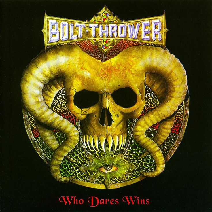 Bolt thrower who dares wins iconic album covers death
