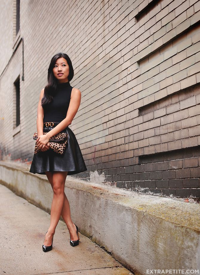Black on Black: Turtleneck tank + (faux) leather skirt