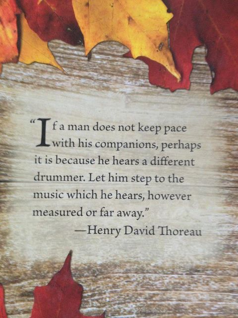 If a man does not keep pace with his companions, perhaps it is because he hears a different drummer. Let him step to the music which he hears, however measured or far away. - Henry David Thoreau