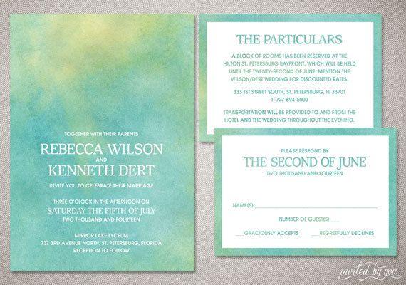 """Watercolor Ombre """"Rebecca"""" Wedding Invitation Suite - Whimsy Modern Beautiful Unique Invitations - DIY Digital Printable or Printed Invite"""