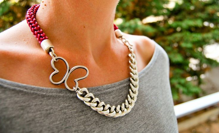 Handmade necklace with bordeau satin cord and silver chain!