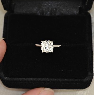 8 mm Cushion Cut Forever Brilliant Moissanite Solitaire Engagement Ring. Oh my gosh this is so perfect!!!!!!!