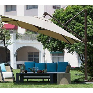 Attractive Abba 10 Foot Deluxe Square Offset Cantilever Patio Umbrella (tan), Size  11 Foot (Aluminum) #APB233T