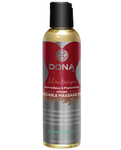 Dona Kissable Massage Oil - 4 Oz Strawberry Souffle - Transform your lover into a sensual dessert with DONA Kissable Massage Oil. Tempt your taste buds with sinful strawberry souffle as you kiss away tension. Strawberry Souffle 4.25 oz