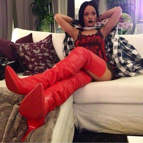 @bg_rrs ✨ rihanna in killer red high thigh boots  @xqueenx94