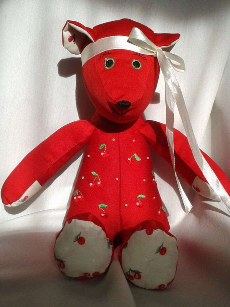 Cherry bear, handmade fabric teddy bear with hand embroidered features by redrosehandmade on Etsy